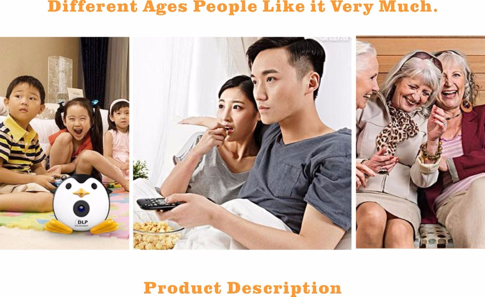 400Lumen Cute Penguin WIFI Micro DLP Mobile LED Projector Support 1080P TF USB HDMI AV & IOS Android Input with Battery Built-in_25