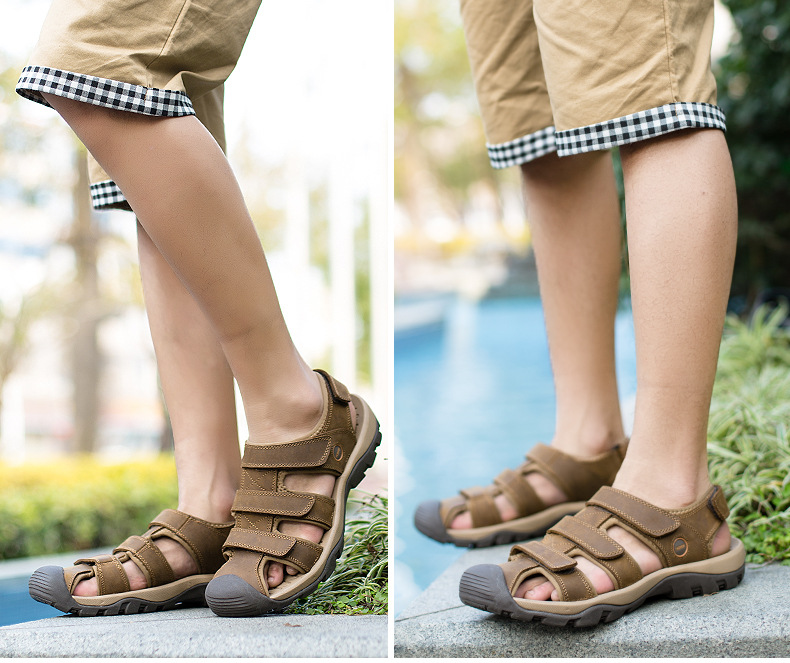 Summer Man Sandals Beach Shoes 2018 High Quality Genuine Leather Prevent Slippery Wear-resisting Outdoor Sandals Large Size 46 17 Online shopping Bangladesh