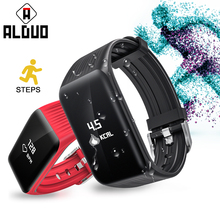 ALANGDUO Fitness Watch 24 Hours Real Time Heart Rate Monitor Wristband IP68 Swimming Waterproof Sports Fitness Tracker Bracelet(China)