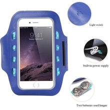 General LED Light Flashing Sport Pouch Running Waterproof Gym Arm Band Case For iPhone 6 6s 7 Plus samsung galaxy s7 a5 5.5""