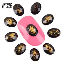 10PCS/LOT Bijoux Angles 3D Resin Gem Nail Art Decorations Gold Foil Czech Stone Cheap Nail Jewelry Materials Supply WY326