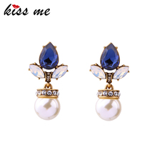 KISS ME Simple Party Ladies Earrings Latest Fashion Simulated Pearls Jewelry Brand Dangle Earrings(China)