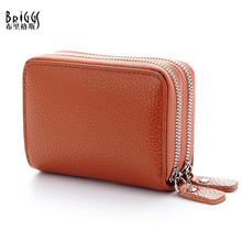 BRIGGS New Fashion 100% Cow Genuine Leather Women Coin Purses Lady Solid Clutch Purse ,10 Card & ID Holder B-1416(China)