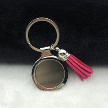 12pcs/lot Wholesale Rose Red Suede Leather Tassel with Blank Round Metal KeyChain Logo Customized Wedding Gift and Favor(China)