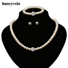 pearl Jewelry Sets making Fashion Imitation Natural beads wedding jewellery set accessories Rhinestone Ball for women Schmuck