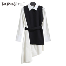 TWOTWINSTYLE Shirt Dress Women's Suit Two Piece Set Long Sleeve Lace Up Black White Asymetrical Vest Dress Female Clothes Korean(China)