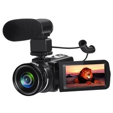 New Wifi Camcorder Full HD 1080P 30FPS Portable Digital Video Camera Recorder with External Microphone and 0.45X Wide Angle Lens