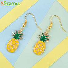 "8SEASONS Women Ear Hook Fruit Drop Earrings Gold color Pineapple /Ananas Yellow & Green Enamel 43mm(1 6/8"") x 12mm, 1 Pair"