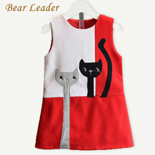 Bear Leader Girls Dress 2016 Fashion Style Cartoon Cats Dress Sleeveless Wool Outwears O-neck Embroidery Children Clothing 3-7Y
