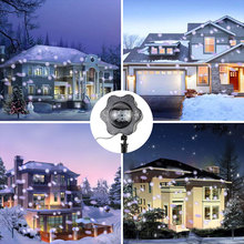 2017 B00073 LED Snow Projector Light IP44 Waterproof Outdoor White dot Christmas Lights Spotlight Snow Garden Landscape Lamp(China)