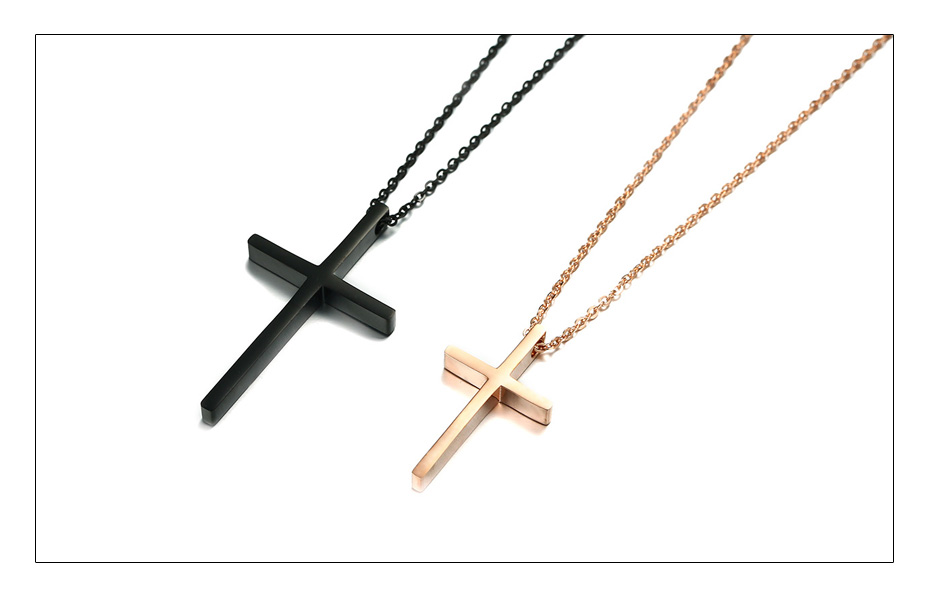 Meaeguet Christian Love Cross Pendant Jesus Necklaces For Couple Stainless Steel Religious Collier Jewelry  (4)