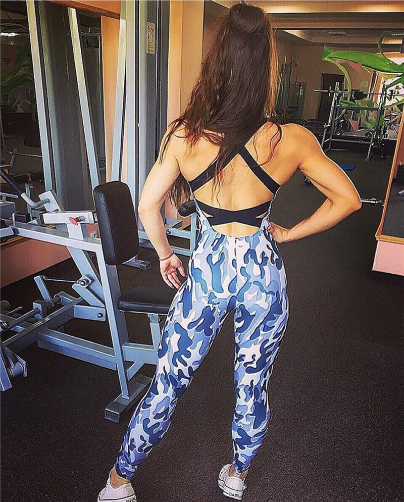 2017 Fashion Camouflage Sexy Sporting, European Women's New Backless Casual Jumpsuit, Bodysuit 6