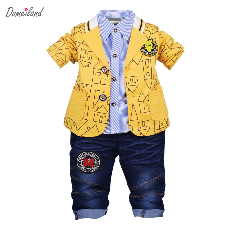2017 fashion baby winter sprint boy clothing sets for 3 pcs boy cartoon outfits coats polo shirts cotton jeans pant clothes <br>