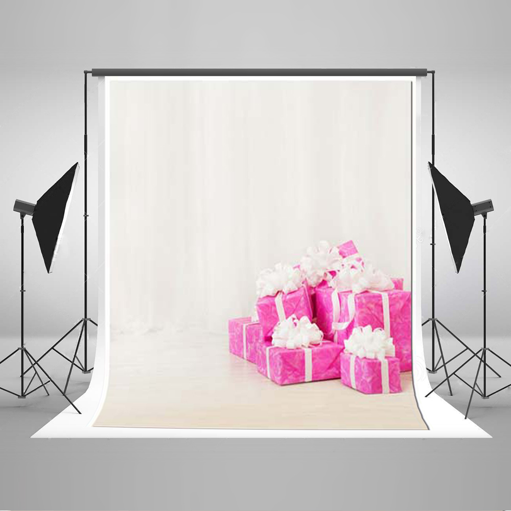 Kate 5x7 Backdrop Photo Backdrop for Birthday Party Pure White Backgrounds Pink Presents Boxes Backdrops for Photography Studio<br>