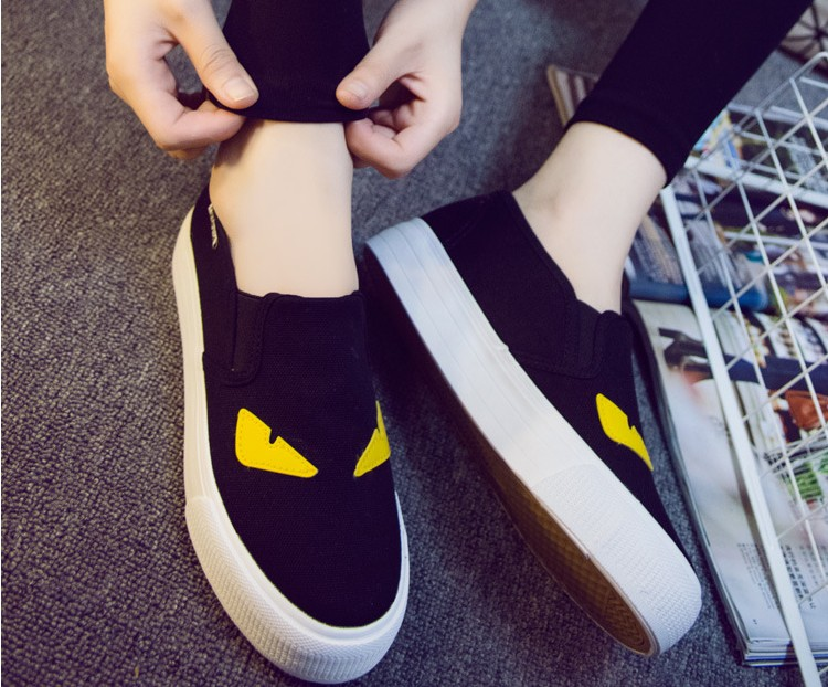 Women Cartoon Loafers 2015 Casual Canvas Flats ShoesLadies Trifle Thick-soled Creepers Footwear Mujer Zapatos<br><br>Aliexpress