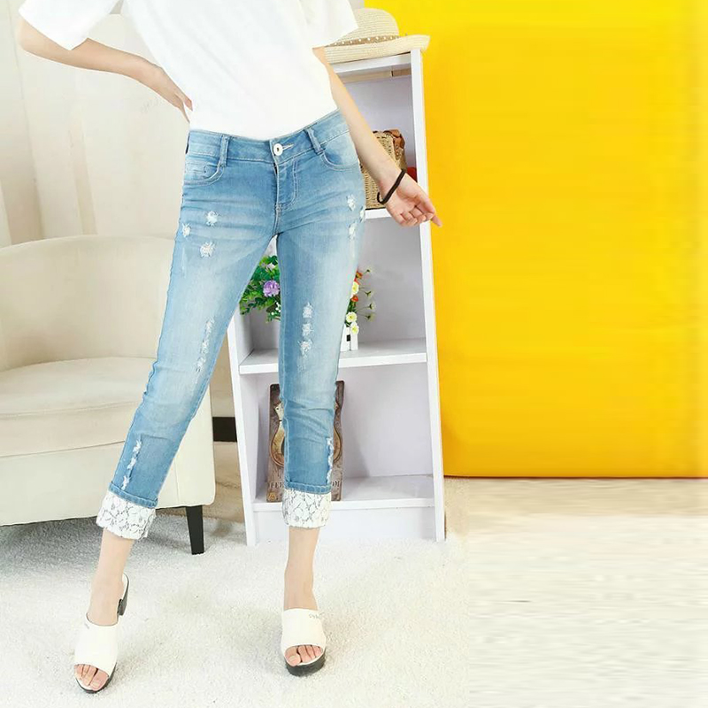 Autumn Denim Pants Women Jeans Capris Jeans Para Mulher Womens Holes Ripped Washed Lace Patchwork Trousers SD8026Одежда и ак�е��уары<br><br><br>Aliexpress