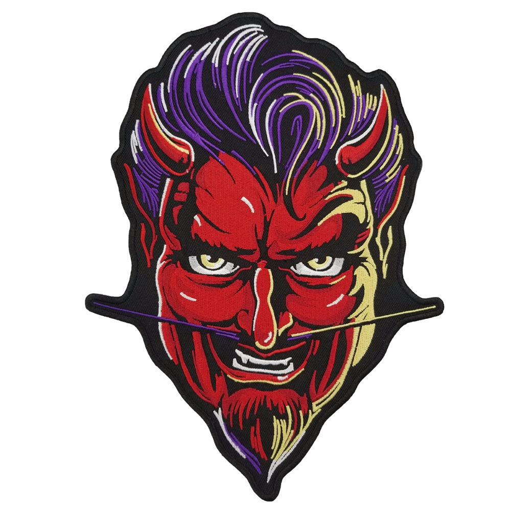 RED DEVIL PATCH vest back motorcycle patch embroidery iron-on cool jacket biker mini patches (1)