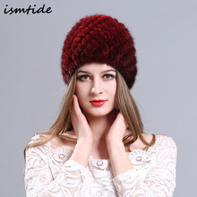 Natural Real Mink Fur Cap Women's Winter Hats Lined New Fur Knitted Cap Pineapple Hat Genuine Mink Fur Hat Female Winter Beanies