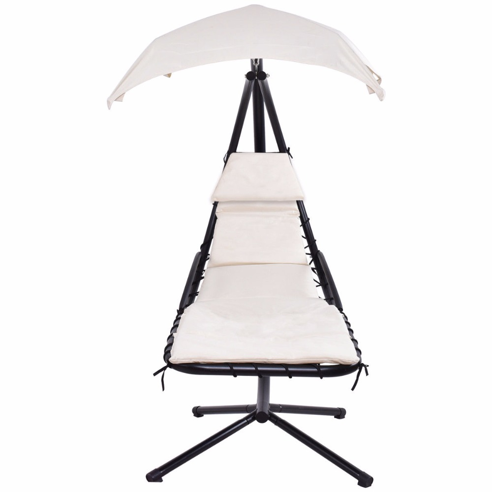Giantex Hanging Chaise Lounger Chair Arc Stand Swing Hammock Chair Canopy Beige Outdoor Furniture OP3349WH 4