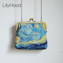 LilyHood 2017 Female Canvas Starry Night Printing Frame Shoulder Bags Retro Old Inspired Vincent van Gogh Artist Crossbody Bags
