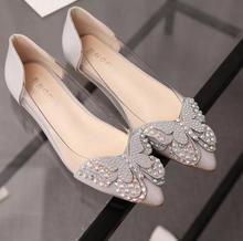2017 hot summer women shoes sandals Flat shallow mouth female imitation diamond point bowknot platform sandals women