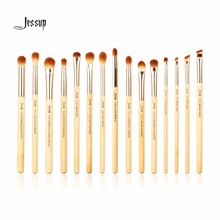 Jessup brushes 15pcs Beauty Bamboo Professional Makeup Brushes Set Pincel Eye Shader Liner T137(China)