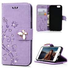 For Apple iPhone 6 6S 4.7 Inch Cases Fashion Flip Wallet PU Leather Case Cover Glitter Pearl Diamond Decor Phone Bag For iPhone6