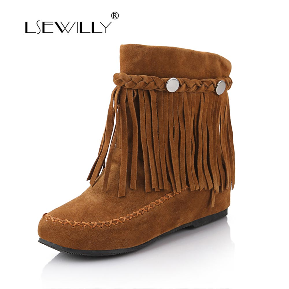 Lsewilly  Women Boots Sweet Fringe Ankel Boots  Comfrt Flat Heel Short Boots Fashion Lady Shoes 2017 New Winter Size34-45 LYZ078<br>