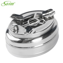 Stainless Steel Ashtray Windproof Taper Cigarette Cigar Ash Holder With High Quality Button SmokinglessD0000011688