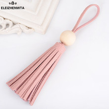ELEIZHENWTA leather Long Tassel Charm Key Chains unfinished Wood Women Purse Accessories Handbag Ornamet Gift Keychain DIY