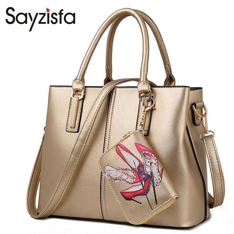 Sayzisfa 2017 Famous Brand Design Women Handbags And Purses Ladies Shoulder Bag Tote Bag Large Capacity Women 2 sets sac T160<br>