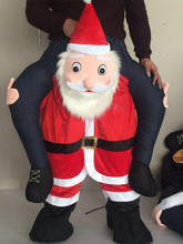 2017 Adult Cosplay Costume Man Riding a red Santa Claus Dress Inflatable Suit Half Body Christmas Party Jumpsuit