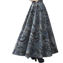 Free Shipping 2017 New Fashion Long Maxi Thick A-line Skirts For Women Elastic Waist Winter Plaid Woolen Skirts Warm Customized