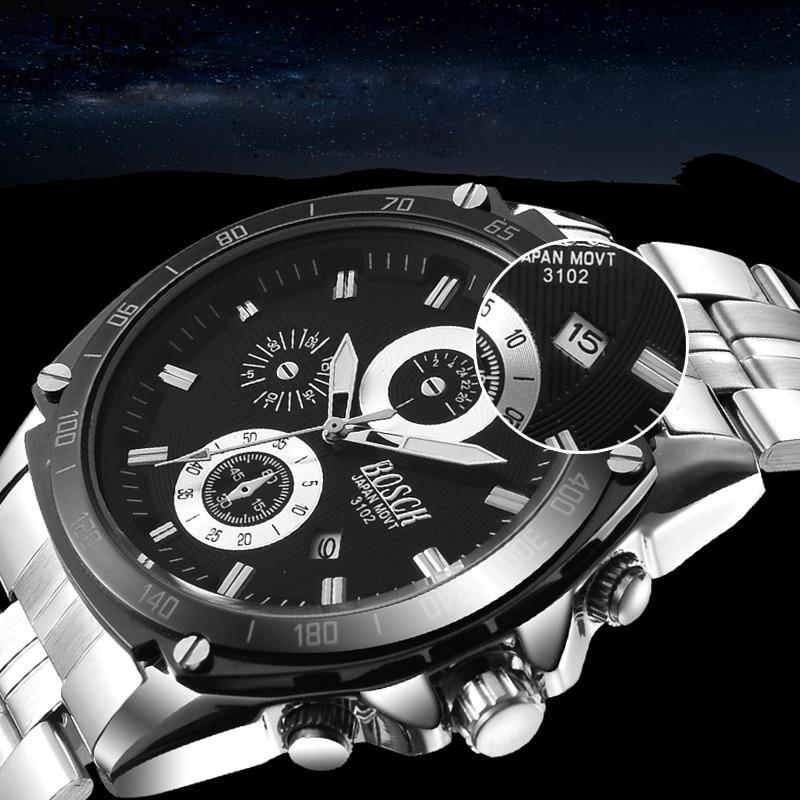 BOSCK Fashion Mens Quartz-Watch Calendar Stainless Steel Waterproof S-shock Casual Hub Watches Military Watch 3102 reloj hombre<br><br>Aliexpress