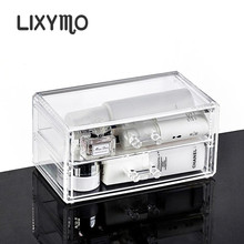 LIXYMO Cosmetic Makeup jewelry 2 drawers Organizer Storage Display Stand Case Rack Holder acrylic clear transparent 1 pc(China)