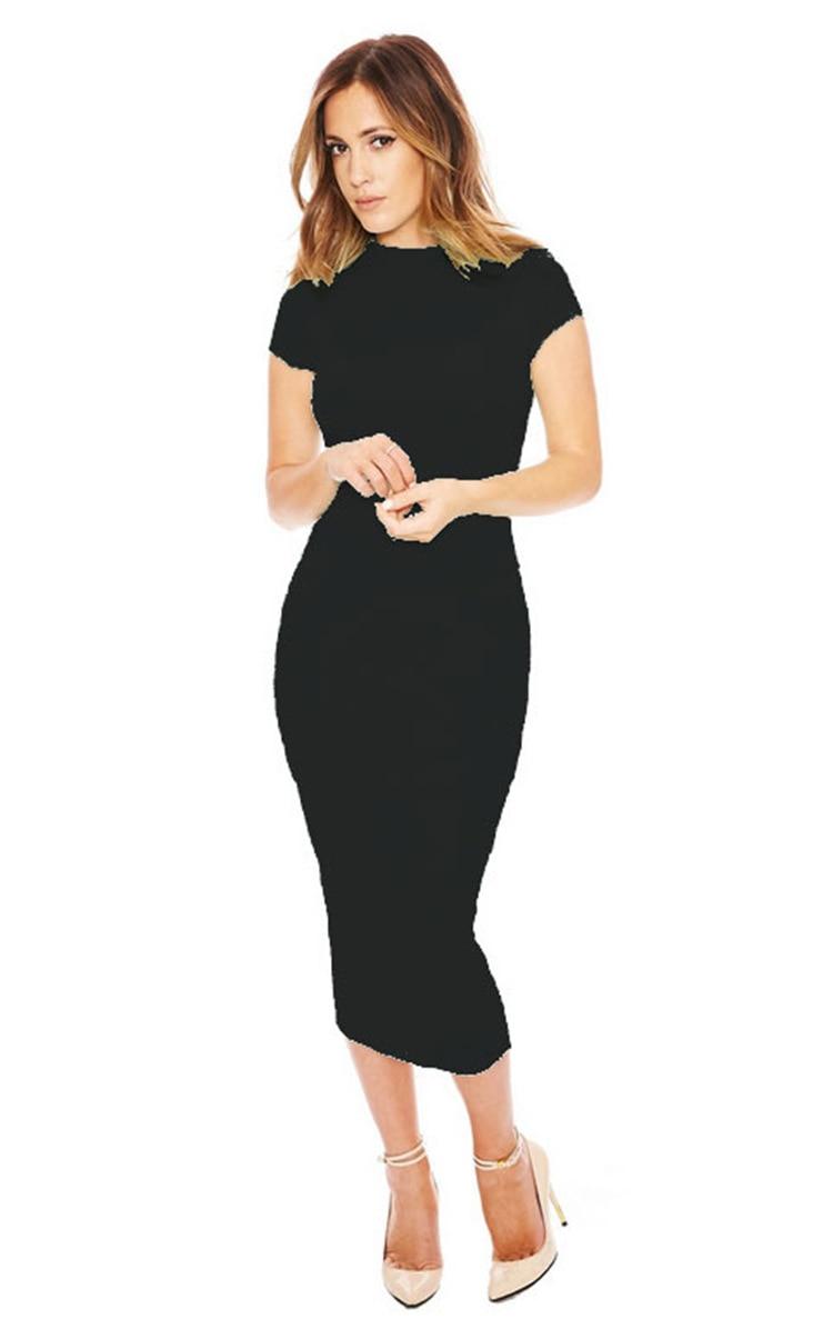 Adogirl Summer Short Sleeve Turtleneck Bodycon Dress New 2016 Black