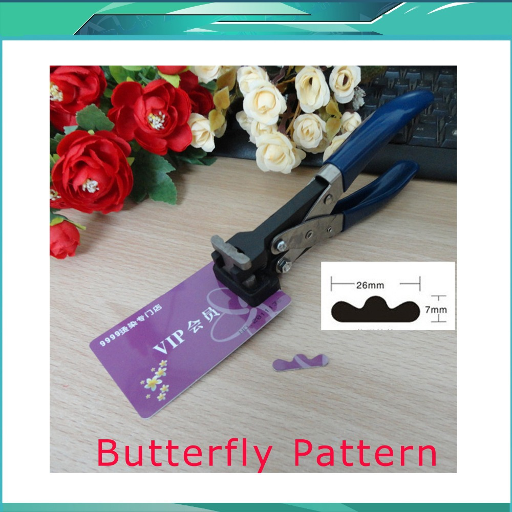 Free shipping Butterfly Pattern Hand Slot Puncher Hole Punch PVC Tag Office 26x7mm<br><br>Aliexpress