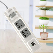 2500W  White Color Original Power Strip Fast Charging 6 Sockets 2USB Extension Socket Plugs Mi Power Adapter Cube Enchufe 1.8M