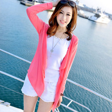 Women Cardigan Thin Spring 2017 Summer Female Blouse Teenage Girl Sunscreen Clothing Yellow Pink Gray Blue White Short Tops