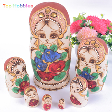 TW07 7Pcs/Set Paint Wooden Russian Dolls Nesting Dolls FlowersDoll Beautiful Handmade Matryoshka christmas decorations Kids Toys(China)