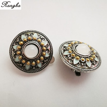 New Brand Vintage Crystal Shield Clip earrings for Women Fashion jewelry 2017 Epoxy Round ear cuff  Silver Enamel earrings