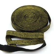 10 Yards Black+Gold Silk 5/8 inch FOE Glitter Elastic for Hair Headbands, Elastic Hair Accessory Free Shipping