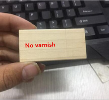 Custom logo New (No Varnish) Maple Wooden Square USB 2.0 Memory flash stick pen drive (Over 15 pcs free logo)(China)