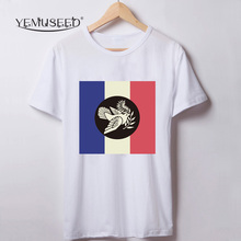 YEMUSEED H393  France Flag Print Eiffel Tower T shirt Women o neck T-shirt Tops Plus Size