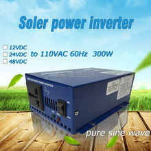 Free Shipping!! Pure sine wave 300W 12/24/48VDC to 110VAC,60hz Solar Power DC to AC Inverter/Converter