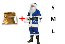 chris clothes set christmas costumes santa claus S M L blue adult clothing halloween costumes santa christmas clothes bag F-0748(China)