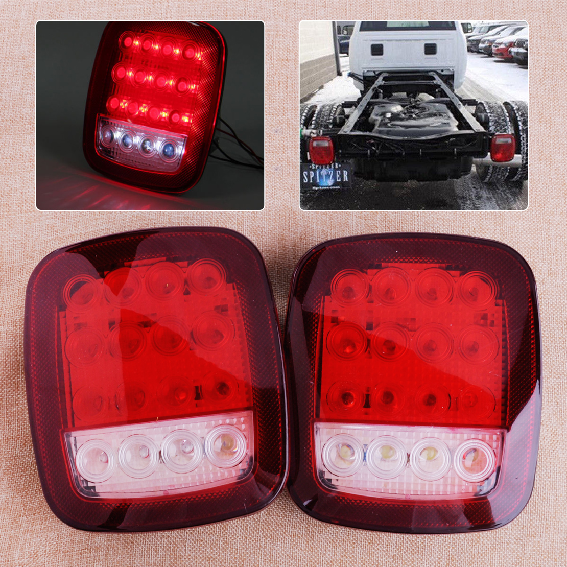 CITALL 2pcs 16 LED Red &amp; White Truck Trailer Boat Stop Turn Tail Indicator Light Back Up Reverse Lamp<br>