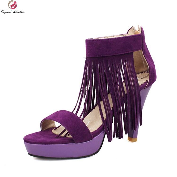 Original Intention Stylish Womens Shoes Sexy Open Toe High Heel Tassel Women Sandals Beautiful Gladiator Shoes Plus Size 4-10.5<br>