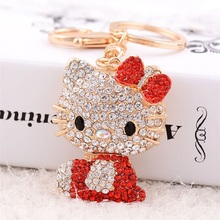 Lovely bowknot rhinestone hello Kitty car key phone women handbags alloy pendant key chain hang act the role ofing is tasted