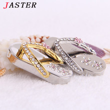 JASTER  crystal slippers USB Flash drive Memory stick Pretty Pen Drive 4GB 8GB 16GB 32GB usb Stick  girl's gift beauty shoes